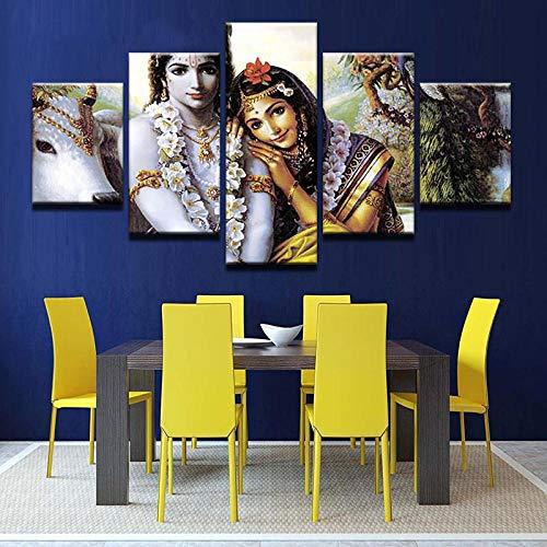 WPPBH Bilder Home Haus 200X100CM 5 Teilig Leinwandbilder Bild auf Indische Schriftzeichen Leinwand Vlies Wandbild Kunstdruck Leinwand druck kunstwerk wohnzimmer schlafzimmer kinderzimmer office home