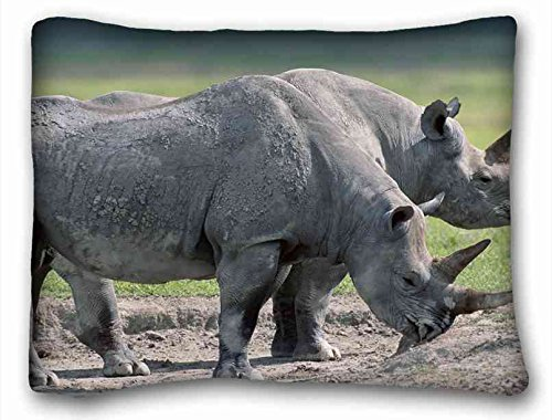 Generic Personalized ( Animals rhinos steams large ugrass food ) Pillow Cushion Case Cover One Sides Printed 20x26 Inches suitable for King-bed