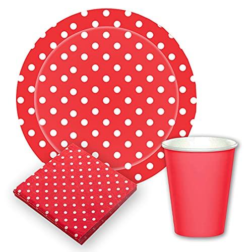 Vajilla biodegradable de Cumpleaños. Set de Platos y Vasos para Fiestas, Reuniones, Camping, Picnic. Juego de Platos y Vasos para Cumpleaños. Decoración Cumpleaños. Vajillas Ecológicas.(Rojo)