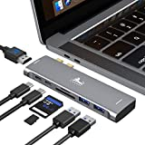 USB C Hub Adapter for MacBook Pro 13 15 16 inch 2020 2019 2018 2017 2016,with Thunderbolt 3 5K 60HZ, 4K HDMI,100W PD, 2 USB 3.0 and SD TF Card Readers, Multiport Dongle for MacBook Air 2020 2019 2018