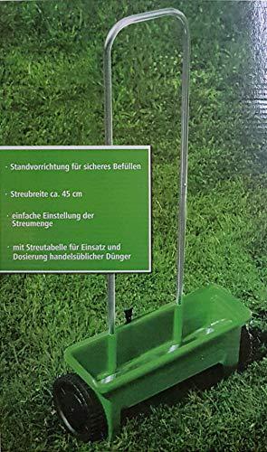 HOMEGARDEN Universal 12 l Streuwagen Dünger Saatgut Winterstreumaterial mit Streutabelle