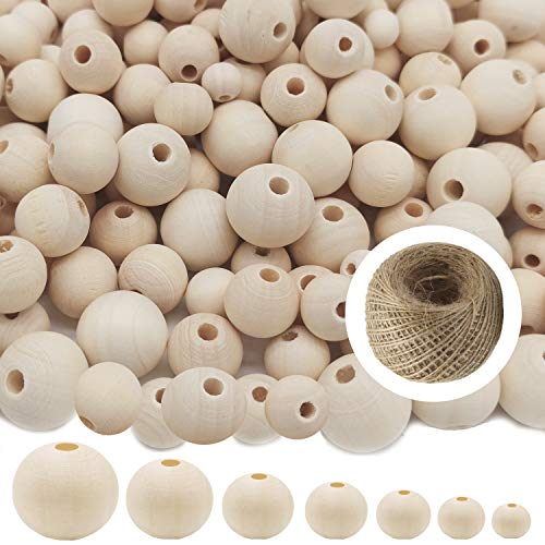 Wood Beads Planet1 Natural Round Wooden Beads 1000 Pieces Unfinished Wooden Spacer Beads Make Bracelet Decorations and DIY Crafts 7 Sizes (6mm, 8mm, 10mm, 12mm,14mm, 16mm, 20mm)