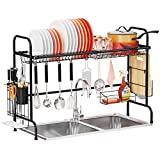 Over The Sink Dish Drying Rack - iSPECLE Large Stainless Steel Dish Rack Shelf Over Sink for Kitchen Space Saver Black