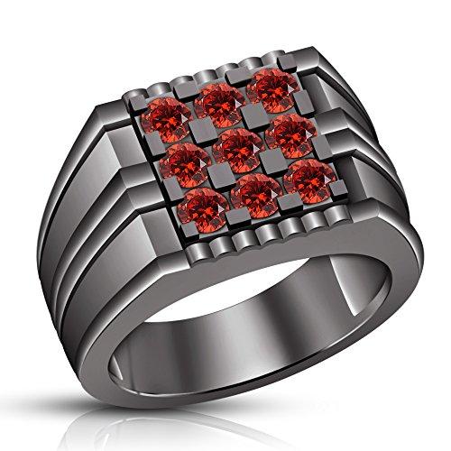 Vorra Fashion Plata fina 925 plata de ley redonda Red Granate sintético