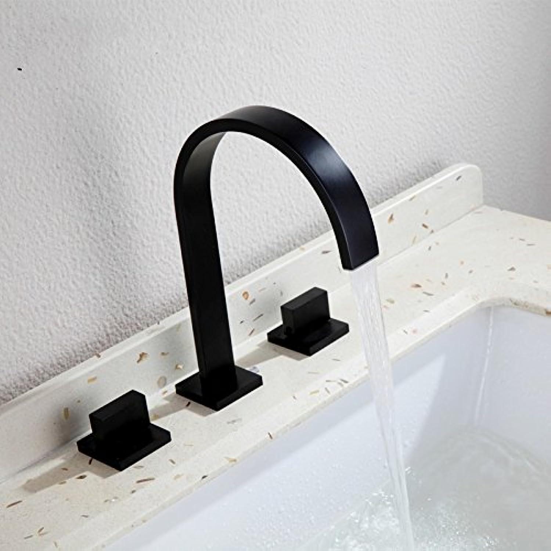 WKZDS.KK Waschtischmischer Hahn Waschbecken Wasserhahn Heien Und Kalten Wasserhahn Mit Doppelgriff Square Bad Schwarz Wasserhahn Wasserhahn