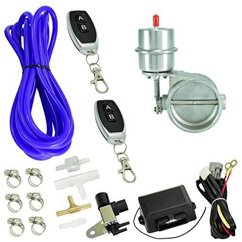 Clapet de gaz d'échappement en acier inoxydable - Diamètre intérieur : 63 mm - Sous pression - Fermé avec un kit de commande à charnière et 2 télécommandes incluses