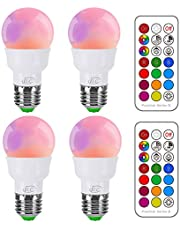 iLC Bombillas Colores RGBW LED Bombilla Cambio de Color 5W E27 Edison - RGB 12 Color - Control remoto Incluido (Pack de 4)