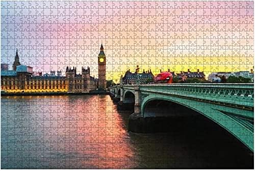 1000 piezas-Londres Reino Unido Puesta de sol sobre la ciudad de Londres Reino Unido Cielo colorido Detrás Rompecabezas de madera Rompecabezas educativos para niños de bricolaje Regalo de descompresi