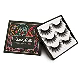 JIMIRE False Eyelashes Fluffy 3D Lashes Pack Reusable Long Lashes 3 Pairs