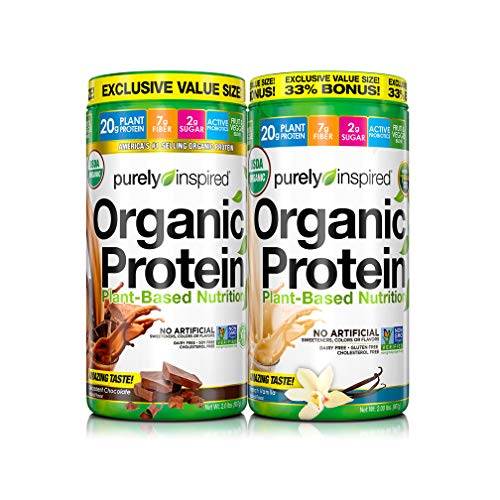 Purely Inspired Vegan Brown Rice and Pea Protein Powder, Mixed Pack, Decadent Chocolate & French...