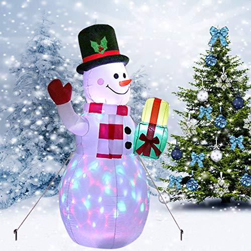 Aiboria 5ft Weihnachten Schlauchboote Sprengen Hof Dekorationen, verbesserte Schneemann aufblasbar mit rotierenden LED-Lichtern für Weihnachtsdekorationen Drinnen Draußen Hof Garten Dekorationen
