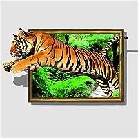 ダイヤモンドの絵画 Diyダイヤモンド絵画「動物の虎の風景」フルドリルスクエアラウンドダイヤモンド刺繡5Dクロスステッチデコレーションホーム