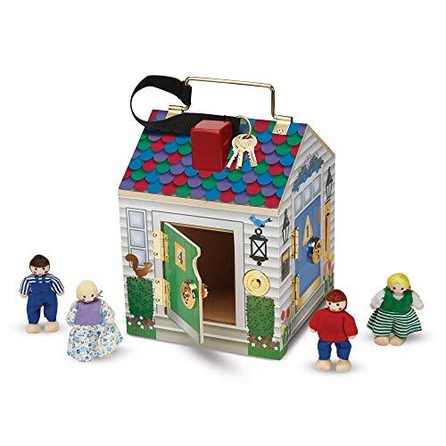 Melissa & Doug 12505 Holzhaus mit Türklingeln und Spielfiguren (5 Teile)