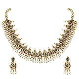 Aheli Elegante Bollywood Party Wear Faux Colored Piedra Collar, Pendientes para Mujeres Indias étnico Boda Fashion Jewelry Set