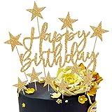 Happy Birthday Cake Topper, 2 Sets Oro Decoración para Tarta para Niñas Niños Mujeres Hombre Decoración de Pastel Cumpleaños, Estrellas Cake Cupcake Topper Suministros de Purpurina para Fiestas
