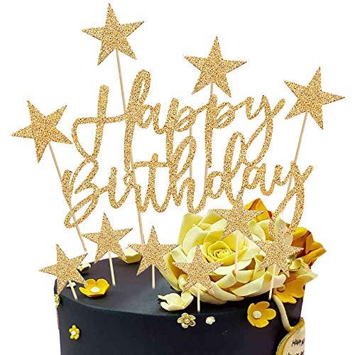 Happy Birthday Tortendeko Geburtstag, 2 Sätze Kuchendeko Girlande Cake Torten Kuchen Topper, Sterne Cupcake Tortenstecker für Mädchen Junge Mann Frau Kinder Geburtstag Taufe Party Glitzer Deko (Gold)