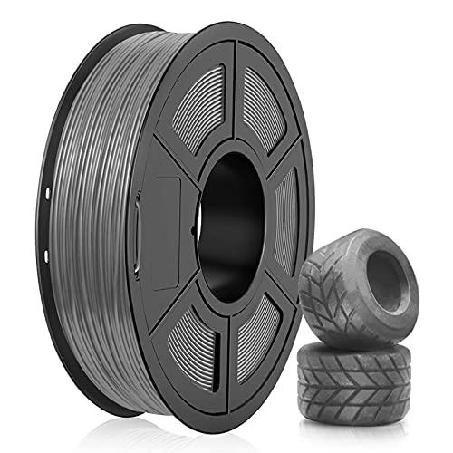 Filamento TPU 1.75mm, SUNLU TPU Filamento Stampante 3D, Flessibile Filamento 1.75, Precisione Dimensionale +/- 0.03mm, 0.5kg Spool, 1.75 TPU Grigio