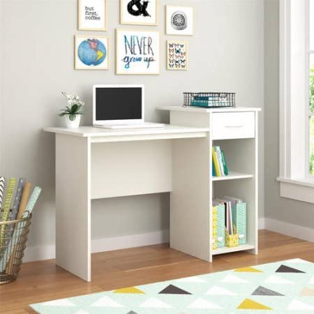 Amazon Com Stylish Affordable Student Computer Homework Desk Great For Dorms Or Apartments Features Drawer Adjustable Fixed Shelf Great Assortment Of Multiple Finishes Colors White Furniture Decor