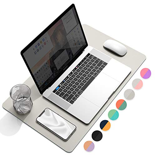 """YSAGi Multifunctional Office Desk Pad, Ultra Thin Waterproof PU Leather Mouse Pad, Dual Use Desk Writing Mat for Office/Home (23.6"""" x 13.7"""", Grey)"""