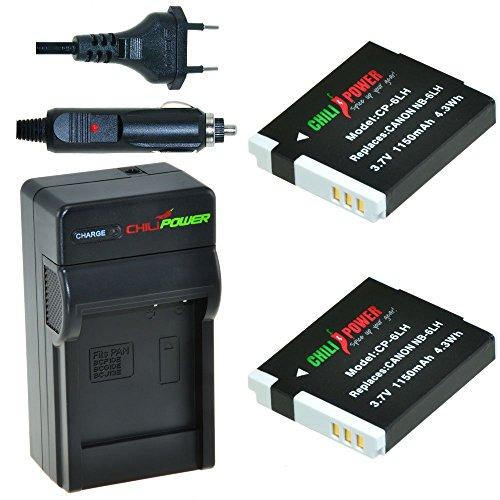 Chili Power NB-6LH Kit: 2x Batería + Cargador para Canon PowerShot D10,...