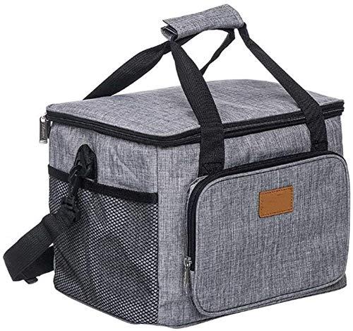 N\A ZT Isolierte Kühltasche Lunch Box, Wiederverwendbare Kühltasche for Erwachsene, Leakproof Wasserdicht Cool Bag for Camping, Picknick, Arbeit und Schule 15L (Color : Gray)