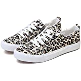 Obtaom Women's Play Fashion Sneaker White Color Washed and Leopard Canvas Slip on Shoes