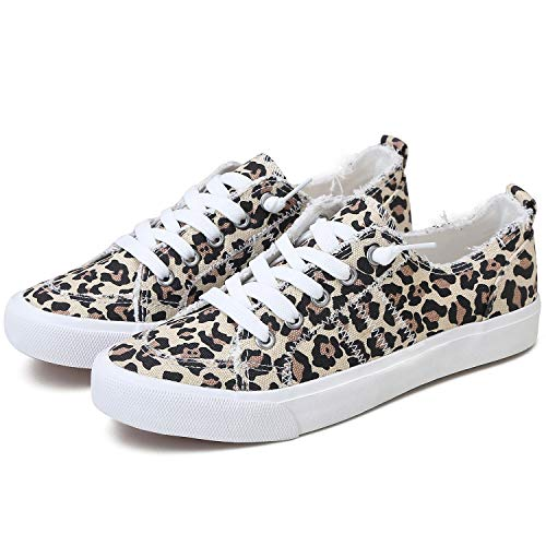 Obtaom Women's Play Fashion Sneaker White Color Washed and Leopard Canvas Slip on Shoes(Leopard, US09)