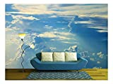 wall26 - Blue Sky Clouds,Blue Sky with Clouds - Removable Wall Mural | Self-Adhesive Large Wallpaper - 100x144 inches