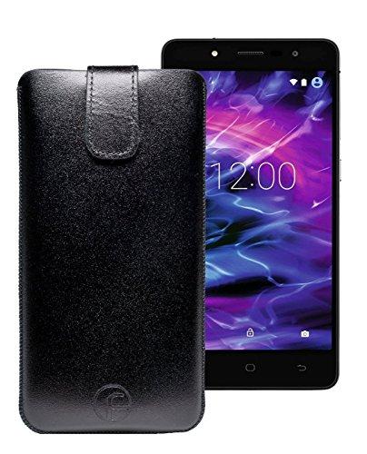 Original Favory Etui Tasche für MEDION® LIFE® E5005 (MD 99915) | Leder Etui Handytasche Ledertasche Schutzhülle Hülle Hülle Lasche mit Rückzugfunktion* in schwarz