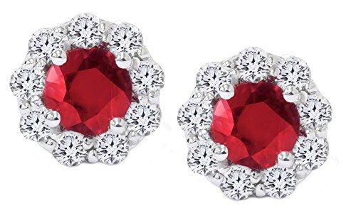 Orecchini a cerchio in oro bianco massiccio 14ct 585 con rubino rosso e diamante naturale bianco e Oro bianco, colore: bianco, cod. UK-M-CME6132-WG