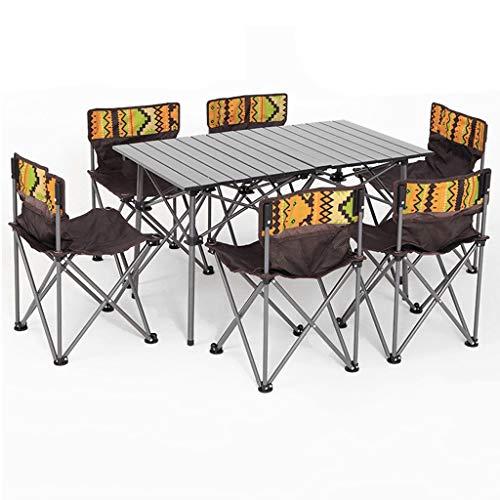 LFJ1201 Outdoor Picknick-Tisch und Stuhl Set, 7 PCS Garten Camping Tisch und Stuhl Set, 6 Person Grill Angeln Stühle Hocker Set (Color : Brown)