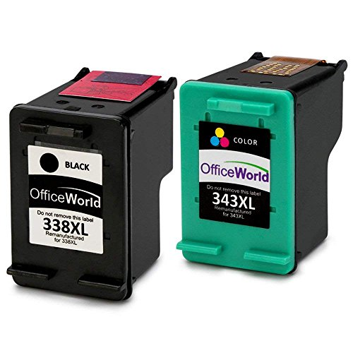 OfficeWorld Remanufactured HP 338 343 Cartucce d'inchiostro Compatibile per HP Photosmart 2575 C3180 8150, HP Deskjet 5740, HP Officejet 150 H470, HP PSC 2355