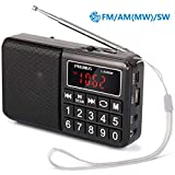 PRUNUS L-238 Portable AM FM Radio Rechargeable Battery Operated SW Radio with Big