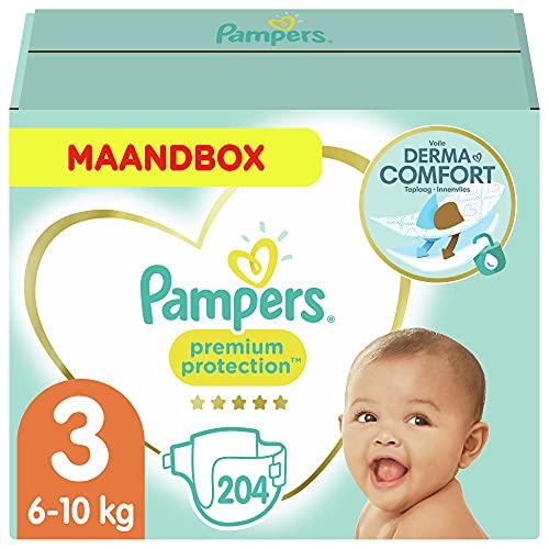 Pampers - Protección Premium - Pañales Talla 3, 6-10 kg, Paquete de 1 mes...