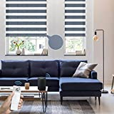 Graywind Motorized Zebra Sheer Blinds Compatible with Alexa Horizontal Light Filtering Window Shades Remote Roller Blinds with Valance for Smart Home and Office, Customized Size (Luxury Blue Grey)