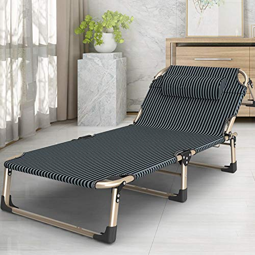 AKSHOME Patio Chairs Reclining For Heavy People, Folding Sun Loungers, Portable And Breathable Sun Loungers, Adjustable Backrest Outdoor Beach Garden Loungers-Gold Rod Stripes