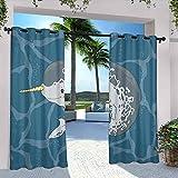 Narwhal Rideaux d'extérieur imperméables pour terrasse, océan arctique, baleine avec corne, nageant dans la mer, dessin animé, dessin animé, pour pavillon de ferme, couloir, terrasse, 308 x 248 cm