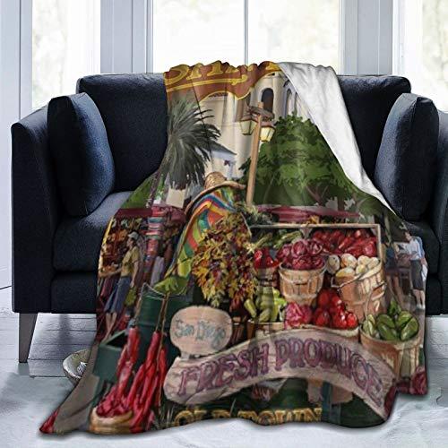 YOUMEISU Kuscheldecke Fleecedecke Flanell Decke San Diego, Kalifornien - Altstadt Blanket Für Bett Sofa Schlafzimmer Büro 153x204cm