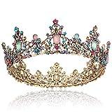 Coucoland Königin Krone Barock Stil Braut Tiara Retro Hochzeit Krone Luxus Prinzessin Diadem Kristall Geburtstagskrone Damen Fasching Kostüm Accessoires (Mehrfarbig)