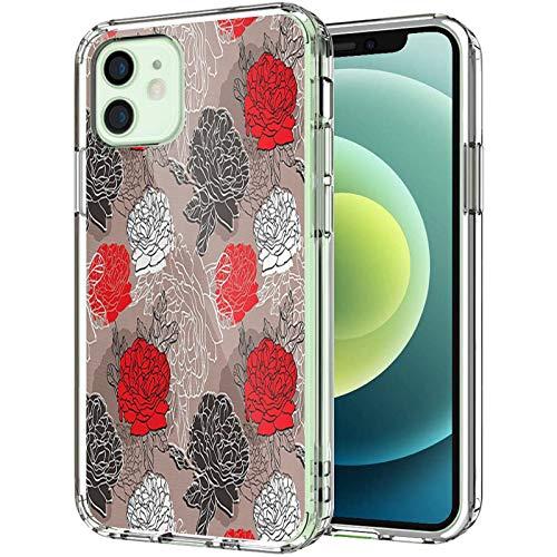 Carcasa transparente para iPhone 12 Pro Max 6.7 pulgadas 2020, diseño de rosas románticas florecientes con ramo de amor, para hombres y mujeres, delgada y suave a prueba de golpes, multicolor