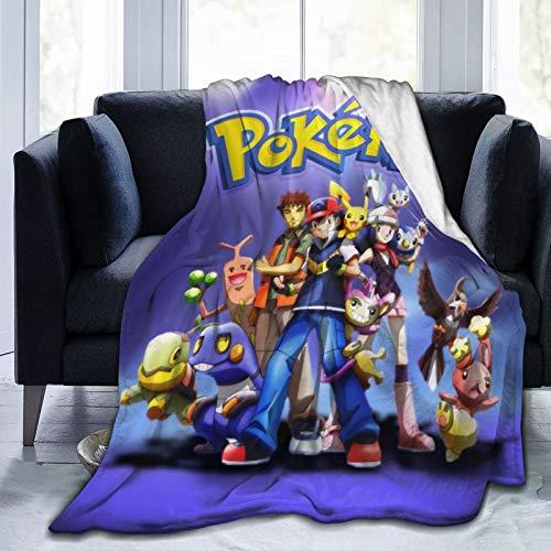 Po-ke-mon Brock Dawn Pikachu Ash Ketchum Anime Soft Flannel Throw Blanket Microfiber Lightweight Fluffy Cozy Blanket for Couch Sofa Bed Blanket for All Season 50'x40'