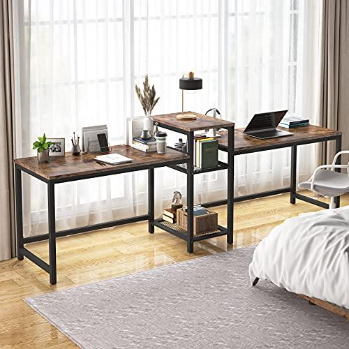 Tribesigns Skrivbord för två personer med förvaringshyllor, 23 cm extra lång dubbel datorskrivbord med skrivarstativ bokhylla, stor dubbel arbetsstation hem kontor bord skrivbord