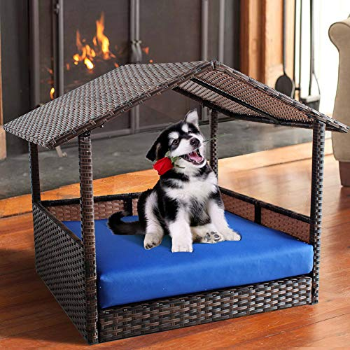 Leaptime Pet Playpens Brown PE Wicker with Cushion Outdoor Indoor Use for Small Animals Royal Blue