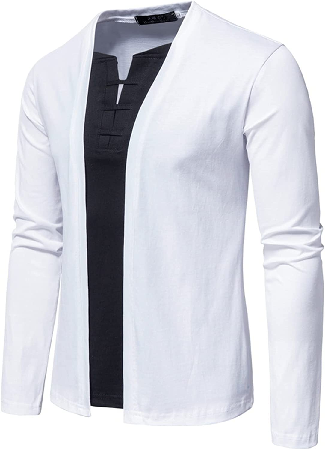Men's Casual V-neck Long-sleeved False Two Pullover Shirt Henley T Shirts of Cotton Shirts
