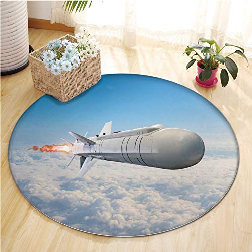 Rocket Launch with Rug Clouds Rugs for Bedroom,Large Rocket with Rug and Engines Flying in The Sky Aimed at The Target Rug Runners for Hallways,7 ft