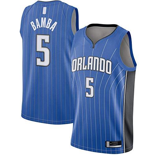 YUEJI Royal - Camiseta de manga corta para hombre de Swingman Bamba para hombre Orlando Basketball Jersey Magic T-Shirt Deportes #5 Orlando Icon EditionMohamed Icon Edition-XL