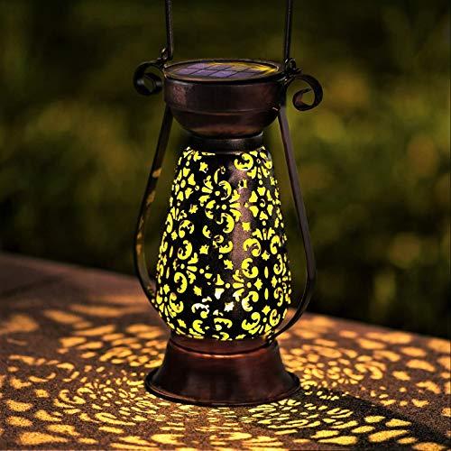 LeiDrail Solar Laterne Gartenleuchte im Freien LED Dekorative Solar Metall-Hängelampen Solarbetriebene Beleuchtung Wasserdichte Lampe Tragbar für Patio Yard Table Courtyard Brown- 1 Pack