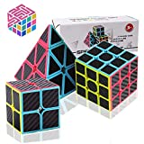 Speed Cube Set, Carbon Fiber Sticker Puzzle Cube Bundle Magic Cube Set of 2x2x2 3x3x3 Pyramid Speed Cube