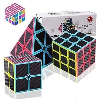 Speed Cube Set Carbon Fiber Sticker Puzzle Cube Bundle Magic Cube Set of 2x2x2 3x3x3 Pyramid Speed Cube