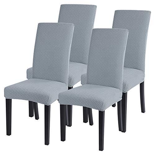 SearchI Stuhlhussen 4er 6er Elastische Set Stuhlbezug Universal Stretchhusse Moderne Husse Dekoration Stuhlüberzug für Stuhl Esszimmer (graublau-2, 4er Set)